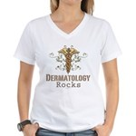 Dermatology Rocks Caduceus Women's V-Neck T-Shirt