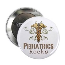 "Pediatrics Rocks Caduceus 2.25"" Button (10 pack)"