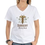 Surgery Rocks Caduceus Women's V-Neck T-Shirt