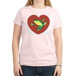 ASL Frog in Heart Women's Pink T-Shirt