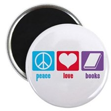 "Peace Love Books 2.25"" Magnet (100 pack)"