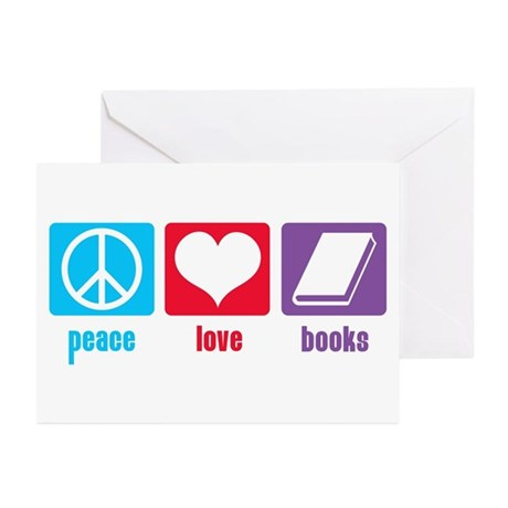 Peace Love Books Greeting Cards (Pk of 20)
