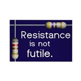"Blue ""Resistance is not Futile"" Rectangle Magnet ("