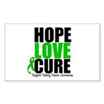 HopeLoveCure KidneyCancer Rectangle Sticker 10 pk