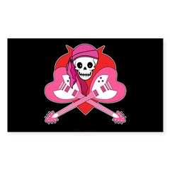 Heart Rock Skeleton Grrl Rectangle Sticker 10 pk)