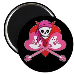 "Heart Rock Skeleton Grrl 2.25"" Magnet (10 pack)"