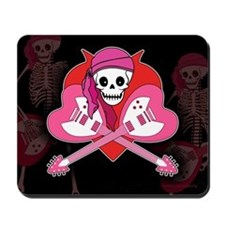 Heart Rock Skeleton Grrl Mousepad