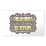 Oklahoma Star Gold Badge Seal Rectangle Sticker 1