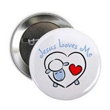 Jesus Loves Me - Blue Lamb Button