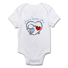 Jesus Loves Me - Blue Lamb Infant Bodysuit
