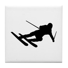 Black Downhill Ski Skiing Tile Coaster