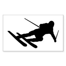 Black Downhill Ski Skiing Rectangle Bumper Stickers