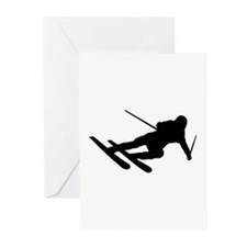 Black Downhill Ski Skiing Greeting Cards (Pk of 20
