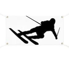 Black Downhill Ski Skiing Banner