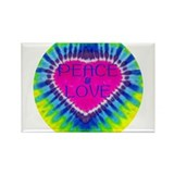 Peace & Love Rectangle Magnet (10 pack)