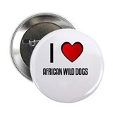 "I LOVE AFRICAN WILD DOGS 2.25"" Button (100 pack)"