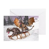 Sledding Dragons Greeting Cards (Pk of 10)