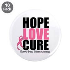 "HopeLoveCure BreastCancer 3.5"" Button (10 pack)"
