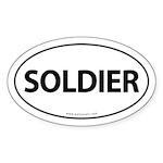 SOLDIER Euro Style Auto Oval Sticker -White