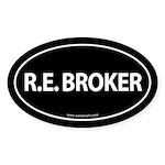 R.E. BROKER Euro Style Auto Oval Sticker -Black