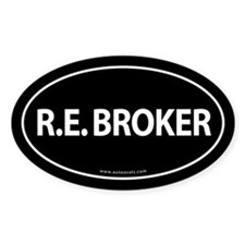 R.E. BROKER Euro Style Auto Oval Sticker -Black