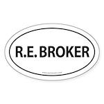 R.E. BROKER Euro Style Auto Oval Sticker -White