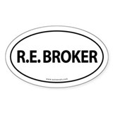 R.E. BROKER Euro Style Auto Oval Sticker -White