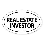 REAL ESTATE INVESTOR Euro Oval Sticker -White