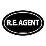 R. E. Agent Euro Style Auto Oval Sticker -Black