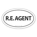 R.E. Agent Euro Style Auto Oval Sticker -White