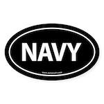 NAVY Euro Style Auto Oval Sticker -Black