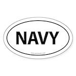 NAVY Euro Style Auto Oval Sticker -White