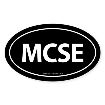 MCSE Euro Style Auto Oval Sticker -Black