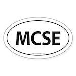 MCSE Euro Style Auto Oval Sticker -White