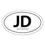 Juris Doctor Euro Style Auto Oval Sticker -White