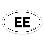 EE Euro Style Auto Oval Sticker -White