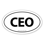 CEO Euro Style Auto Oval Sticker -White