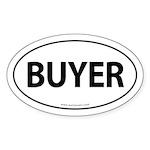 BUYER Euro Style Auto Oval Sticker -White