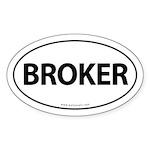 BROKER Euro Style Auto Oval Sticker -White