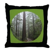 Redwood Forest Fog Throw Pillow