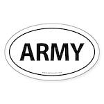 ARMY Euro Style Auto Oval Sticker -White