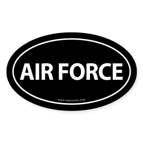 AIR FORCE Euro Style Auto Oval Sticker -Black