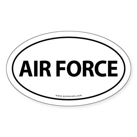 AIR FORCE Euro Style Auto Oval Sticker -White