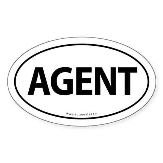 AGENT Euro Style Auto Oval Sticker -White