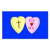 &quot;He Loves Me&quot; Blue Rectangle Decal