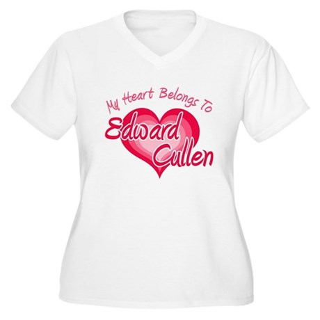 Edward Cullen Heart Women's Plus Size V-Neck T-Shi