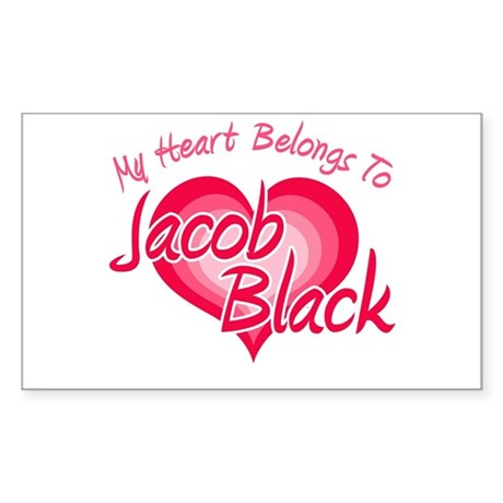 Heart Jacob Black Rectangle Sticker
