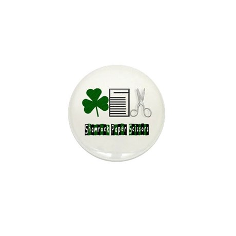 Shamrock, Paper, Scissors Mini Button