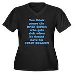 Jelly Beans Women's Plus Size V-Neck Dark T-Shirt