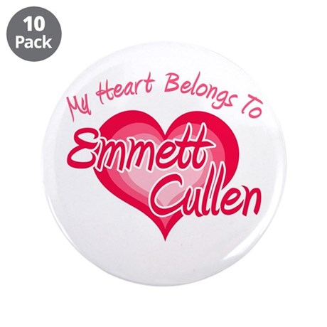 "Emmett Cullen Heart 3.5"" Button (10 pack)"